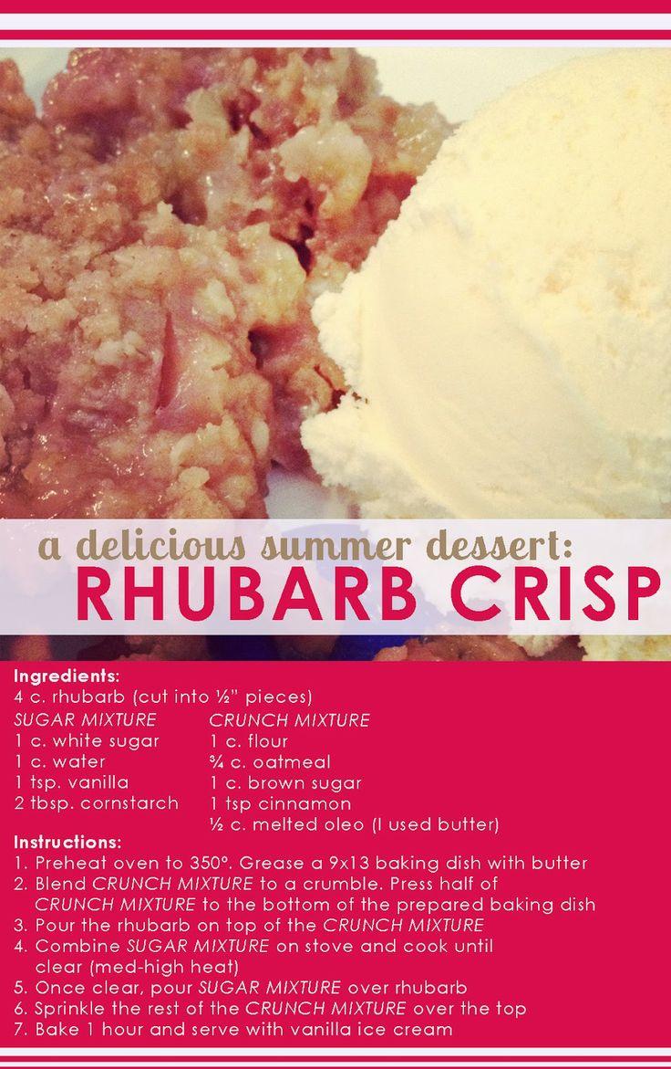 SimplyJudyBligh: Rhubarb Crisp Recipe