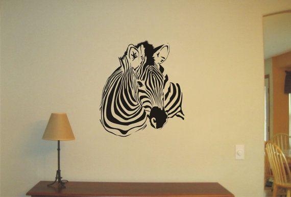 Zebra grande tatuaggio di adesivo, vinile adesivo, muro, Wall Decor a parete