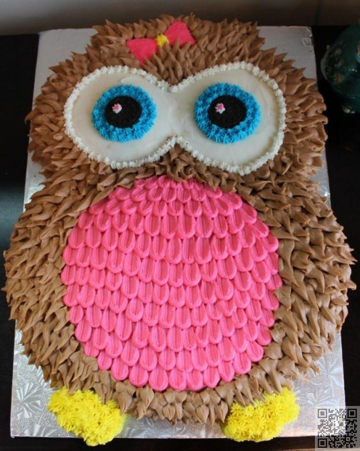 5. Owl Cake - 50 Easy Make #Animal Cakes for #Every Occasion ... #Giraffe