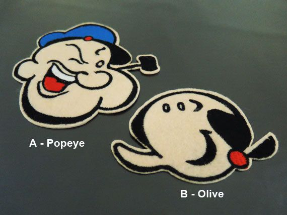 Popeye Patch Olive Patch - Iron on Patches or Sewing on Patch Cartoon Popeye the Sailor Patch Embroidered Patches Embellishment  Size : A - Popeye