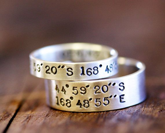 Wedding Ring Set Latitude and Longitude Rings by monkeysalwayslook