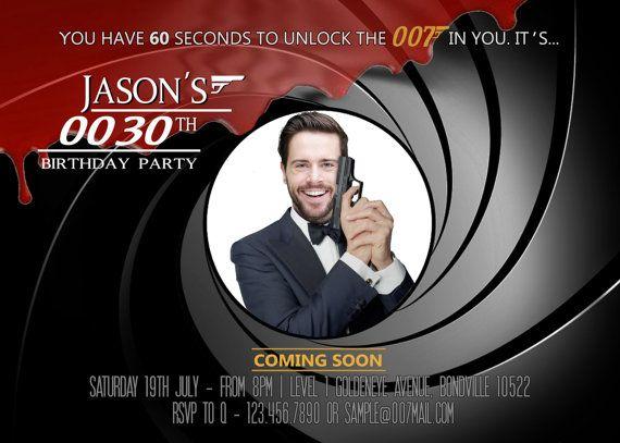 007 James Bond Birthday Invitation, 007 Birthday Party Invitations, 007 Secret…