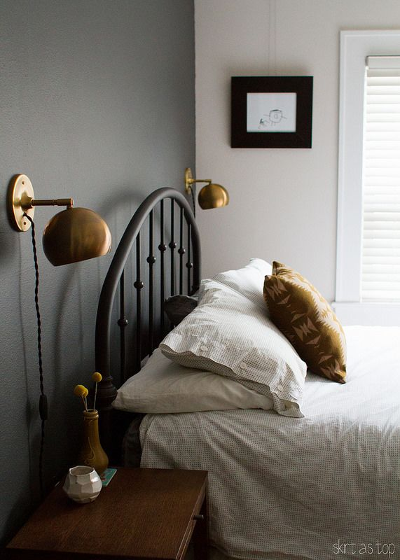 sonora pillow    skirt as top  love the dark wall and Schoolhouse Electric  lamps. 17 Best ideas about Bedroom Wall Lights on Pinterest   Bedroom