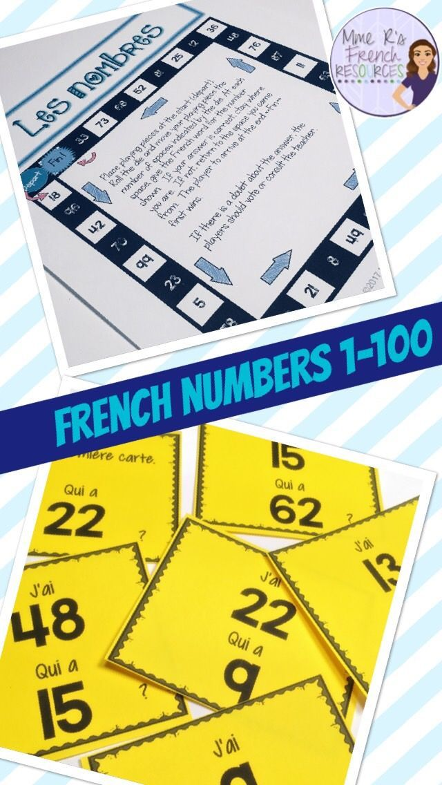 This packet is a great way to teach, practice, and review French numbers. Your students will love these games and speaking and writing activities for learning to read, write, listen, and speak LES NOMBRES! Click here to see it now!