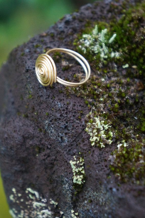 Hawaiian Hurricane Gold Wire Wrapped Ring by AquaWai on Etsy
