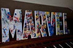 Marvel Superhero Letters, Marvel Superhero custom made name letters, Boy Superman Room, Boy Superhero Wooden Letter, Superhero letter, by mamasfavthings on Etsy https://www.etsy.com/listing/211315856/marvel-superhero-letters-marvel