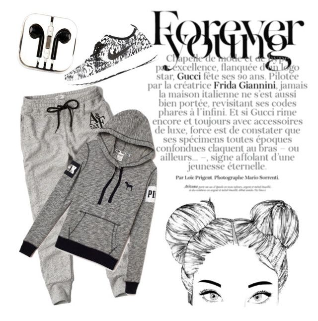 """Forever Young : Run!"" by aninditaarr on Polyvore featuring Abercrombie & Fitch, NIKE and PhunkeeTree"