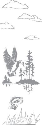 Glass etching stencil of Duck over Lake with Bass Jumping. In category: Birds, Fish & Marine, Game Birds, North Woods, Water Fowl