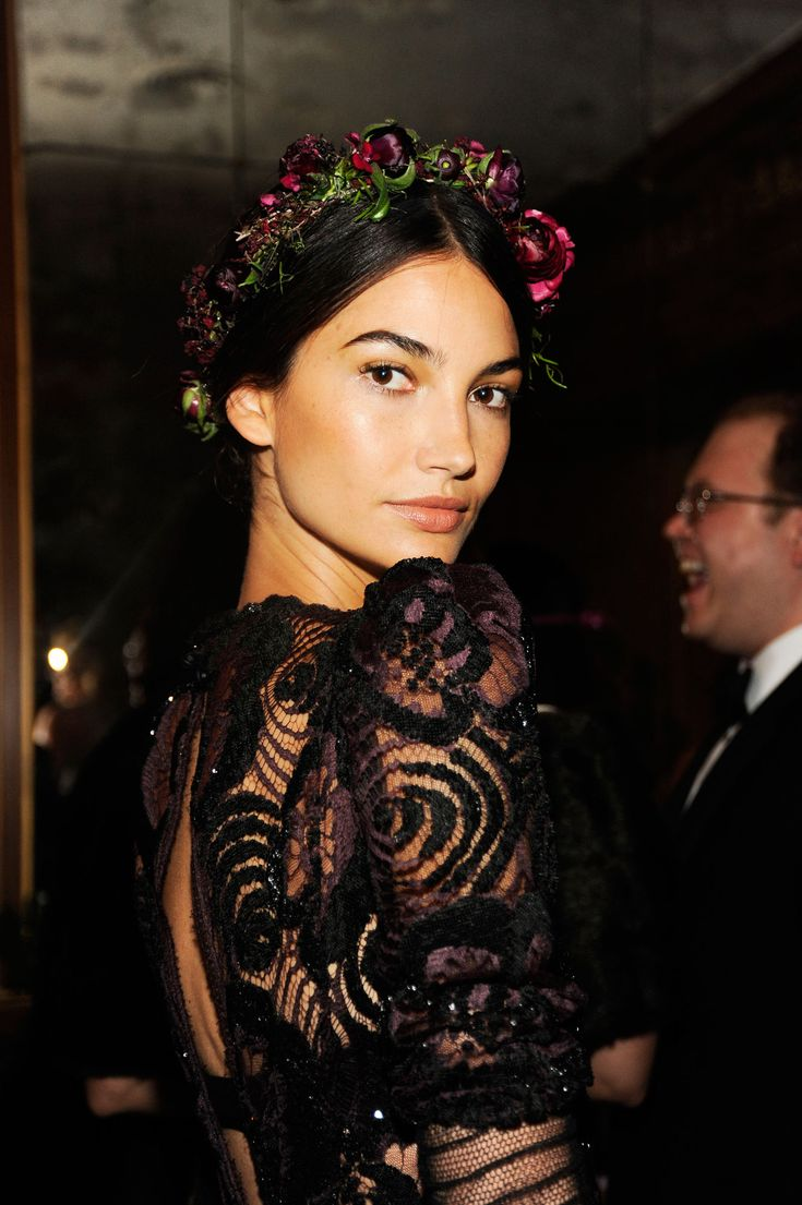 Flower crowns are all the rage and model, Lily Aldridge, shows how you can pair one with a beautiful gown.