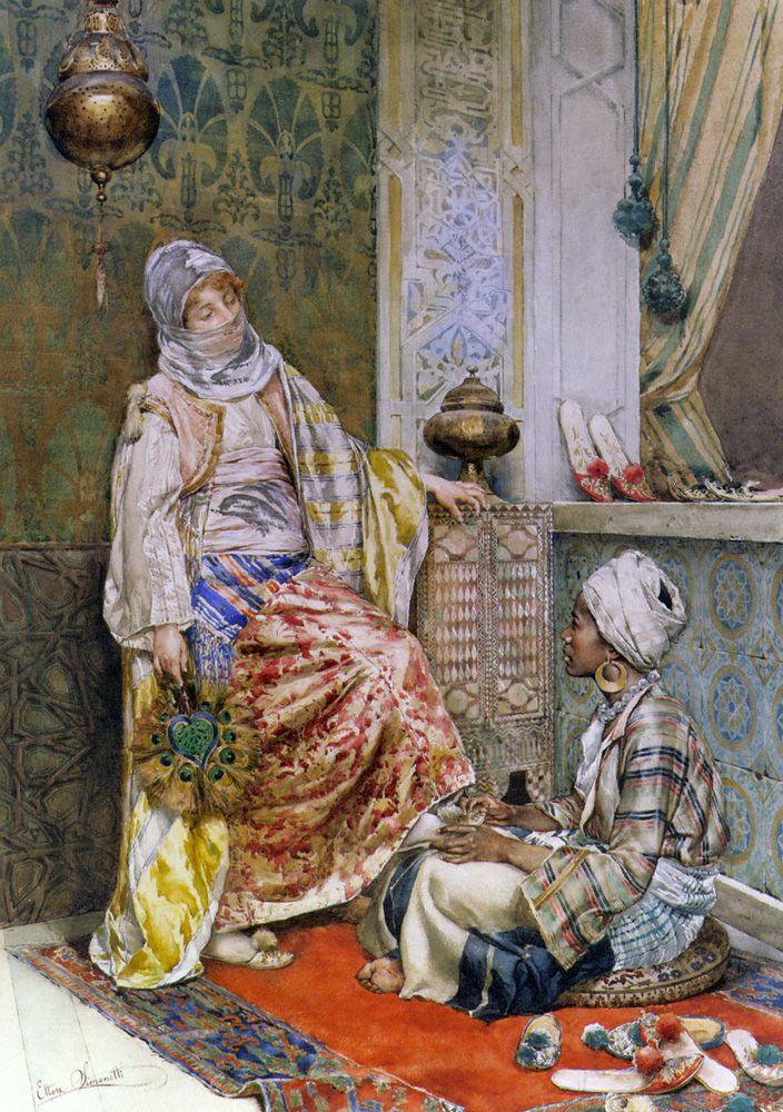 Ettore Simonetti  (Italian Painter1857-1909)    -    In the Dressing Room