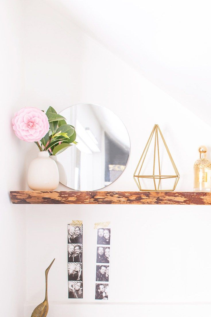Learn how to hang solid wood floating shelves, perfect for hanging live-edge shelves. This is DIY that even a beginner can do!