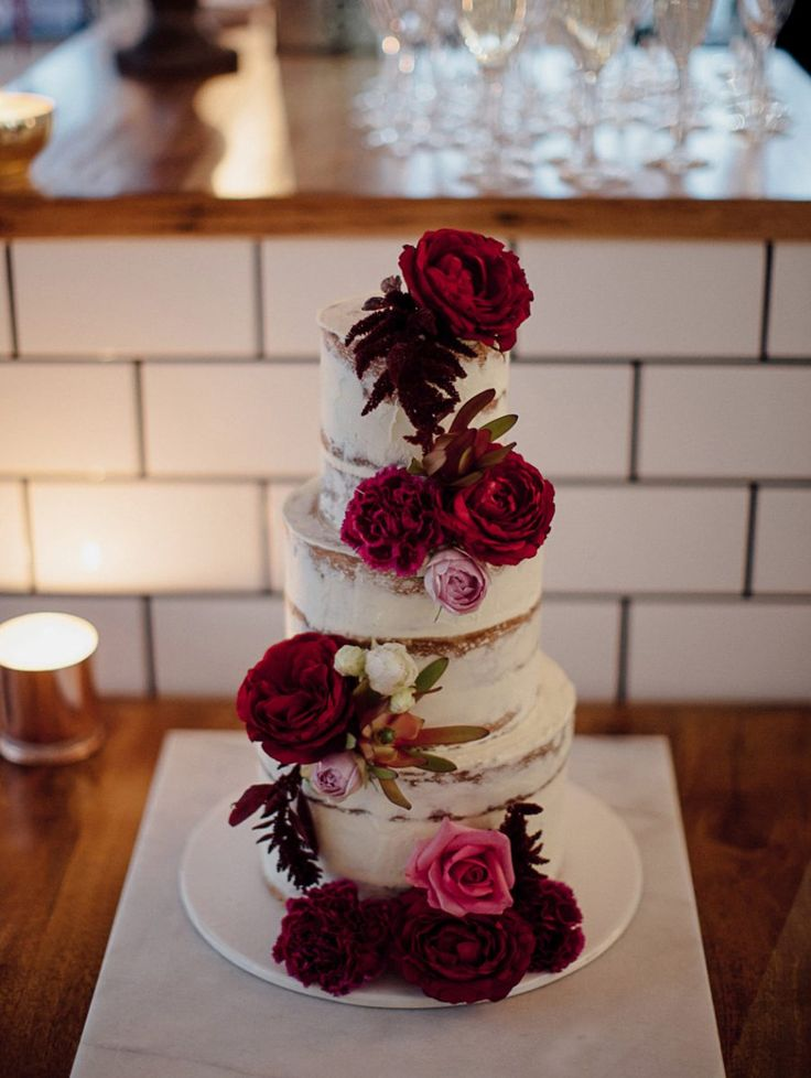 semi-naked layer cake with red peonies