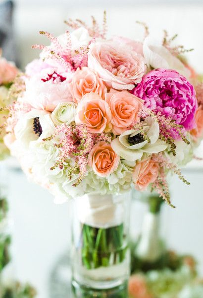 Rose wedding bouquet idea - pink, ivory + peach bouquet of peonies, roses, hydrangeas and anemones {Helo Photography}