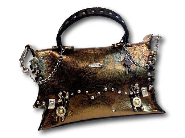 Handmade leather bag (bronze/gold)