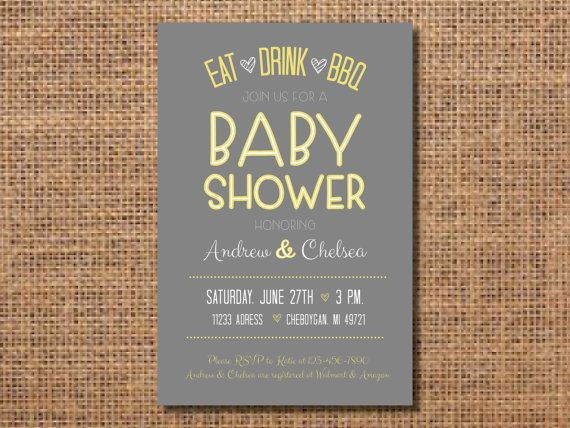 BBQ Baby Shower Invitation Yellow Gray Baby by VintageLeeCrafted
