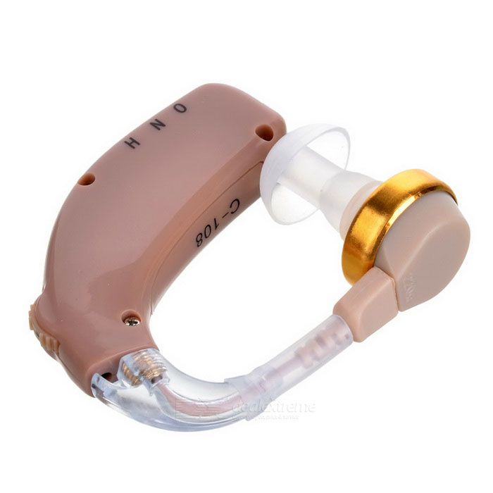 Rechargeable BTE Earhook Hearing Aid Personal Sound Amplifier w/ 3-Mode Volume Control - Light Brown