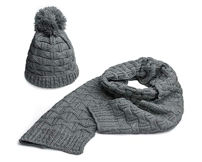 77c872201bf Lanzom Women Lady Fashion Winter Warm Knitted Hat and Scarf Set Skullcaps  Valentine s Gift -- Want to know more