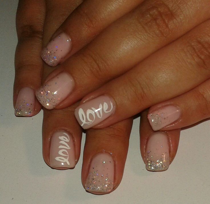 hard gel overlay on natural nail with gel polish, OPI bubble bath with silver glitter ombre, love on accent nail