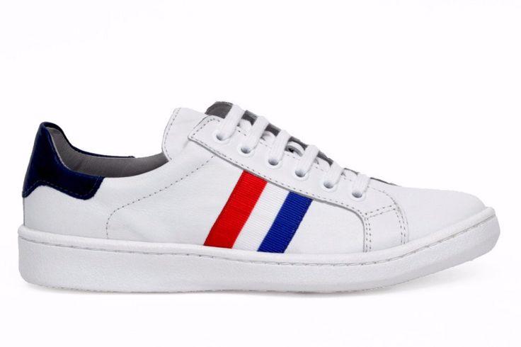 miMaO allsport woman–  zapatilla deporte mujer plano cómodo piel blanco azul rojo- Comfort women's flat shoes trainers white blue  red suede leather