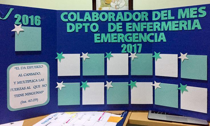 Tablero de reconocimiento del empleado. Empleado del mes! Estación de Enfermeria de emergencia