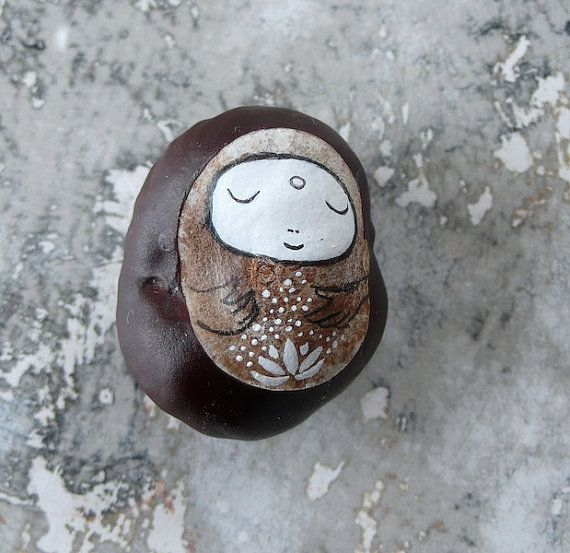 Jizo Bodhisattva with a Lotus Flower, painted on a dried Horse Chestnut (Aesculus hippocastanum)