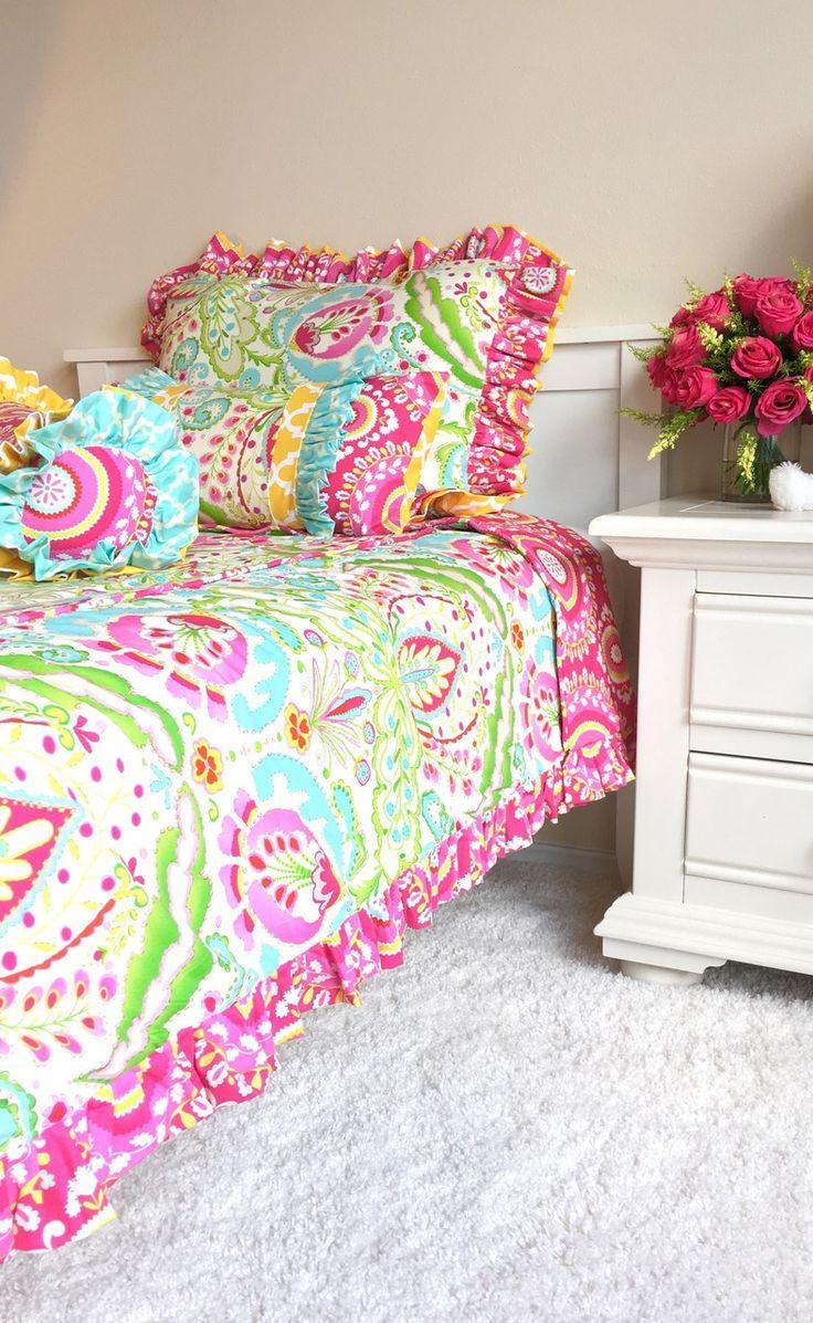 Pink bed sheet design - Kumari Garden Teja Pink And Jeevan Pink Comforter Bedding