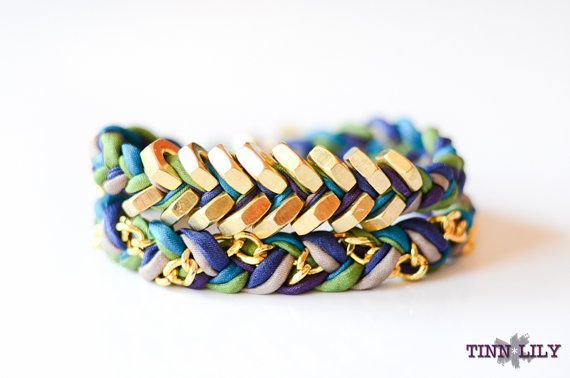TINNLILY Silk Peacock Chain and Hex Nut Bracelet by TINNLILY, $40.00