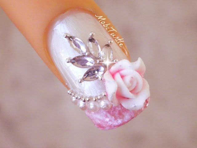 56 best wedding nail art ideas tutorials images on pinterest water marble effect french tip acrylic rose pearls bridal wedding nail art prinsesfo Choice Image
