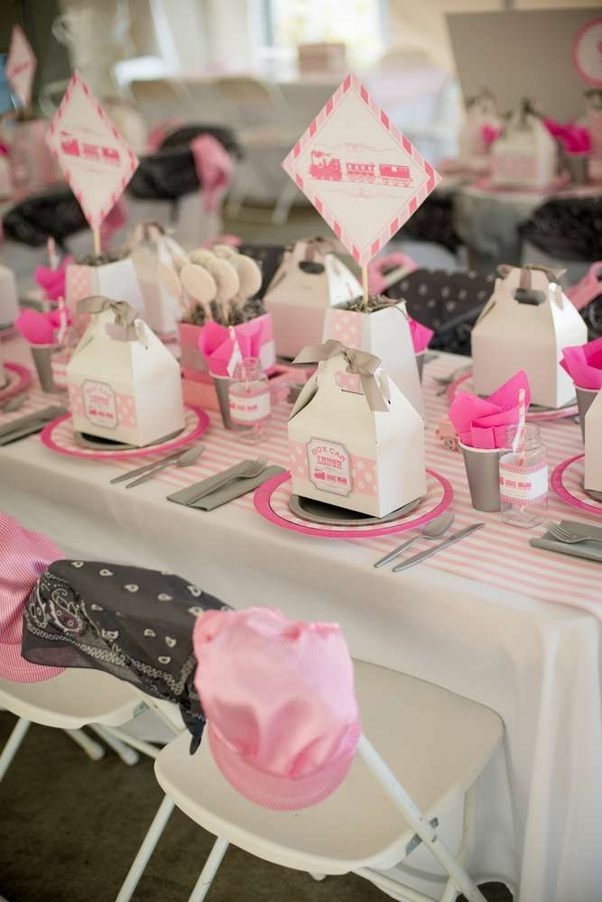 Pink girl train birthday party! See more party ideas at CatchMyParty.com!