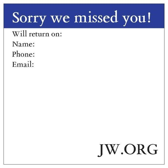 Return Visit Sticky Notes JW.org Ministry Field Service Jehovah's Witnesses Gift