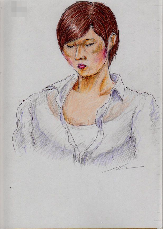 白いシャツのお姉さん(通勤電車でスケッチ)This is a woman of sketch wearing a white shirt. It drew in a commuter train.