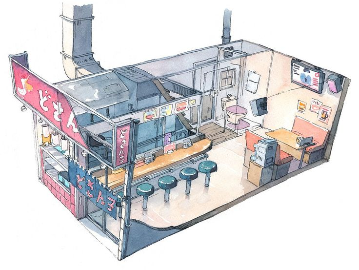 """A ramen restaurant we ate at. I took photos of the storefront but wanted to do a sketch while I still remember the interior layout."""