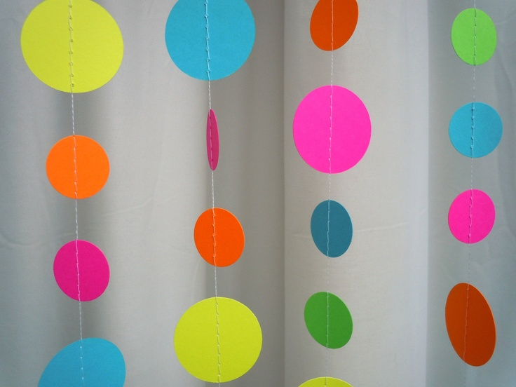 Neon Paper Circle Garland. $10.00, via Etsy. I could make this easily with my sewing machine :)