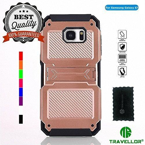 Galaxy S7 CaseTRAVELLOR mech series TPUPC Shock proof Impact Resistant Scratch Resistant Drop Resistant Rugged Kickstand Cover for Samsung Galaxy S7 (Rose gold)