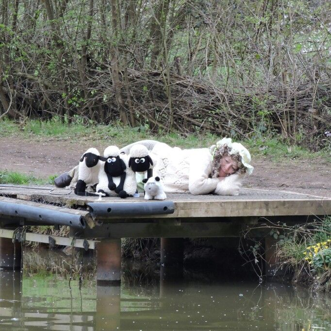 Little Bo Peep at the Easter Bunny cruises on the Wey and Arun Canal in Loxwood, West Sussex.