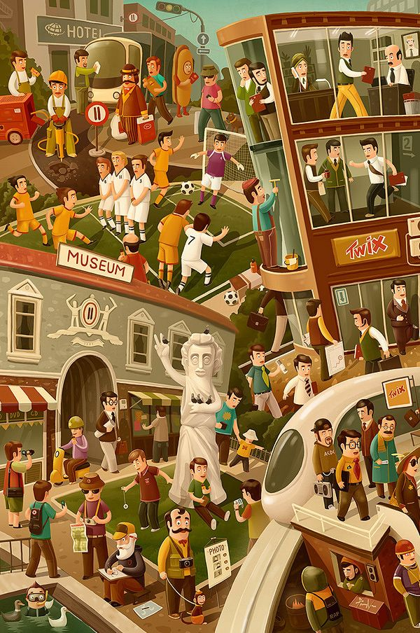 Twix, Alka Seltzer and other ad illustrations by Andrey Gordeev, via Behance