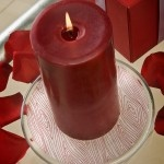 Mod Podge, glass plate, and tissue paper becomes DIY candle holder decor!
