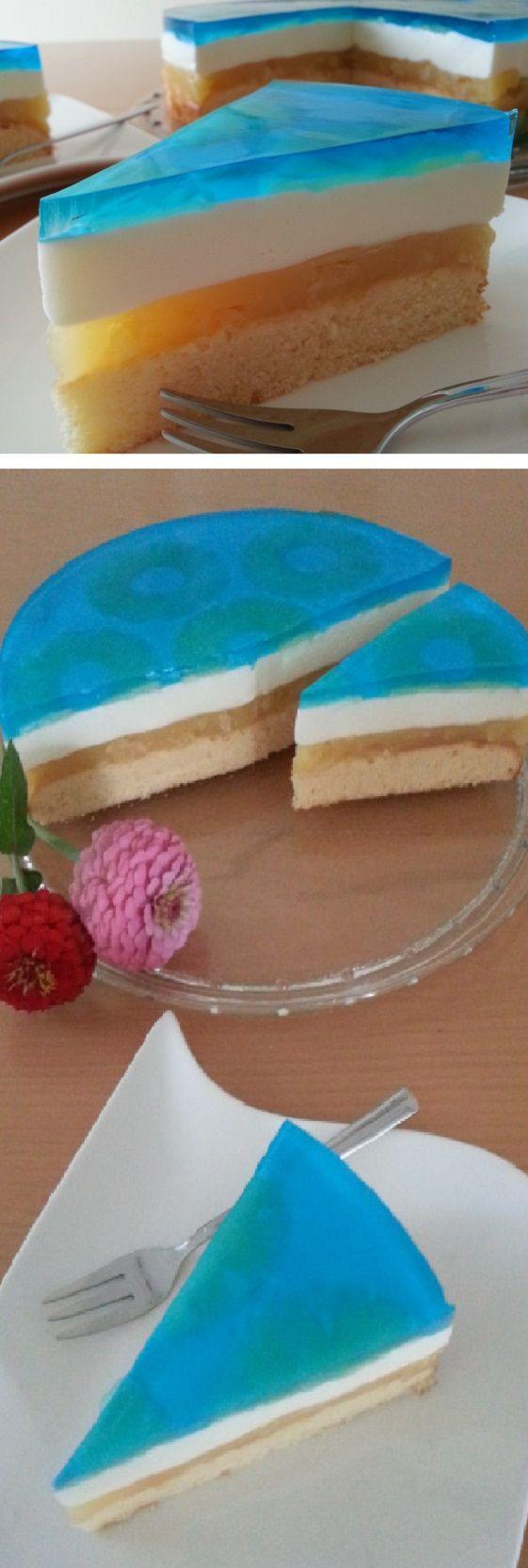 El aspecto genial: TORTA DE PISCINA o Pastel Azul. #receta #recipe #casero #torta #tartas #pastel #nestlecocina #bizcocho #bizcochuelo #tasty #cocina #chocolate #queso #piscina #azul #pastel #gelato Para la masa, bata los huevos con azúcar hasta que estén espumosos. Mezcla el aceite con el jugo de piña y d...