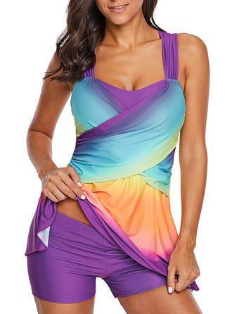 VERYVOGA Splice color Round Neck Beautiful Plus Size Swimdresses Swimsuits – Purple