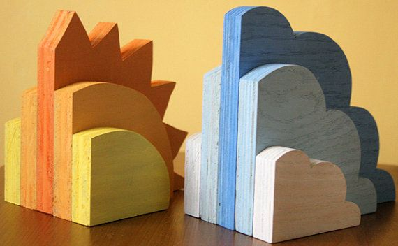 Sujeta libros para niños en madera pintada - Childrens' Bookends Wooden and Painted Sweet Air by MooseAndBee