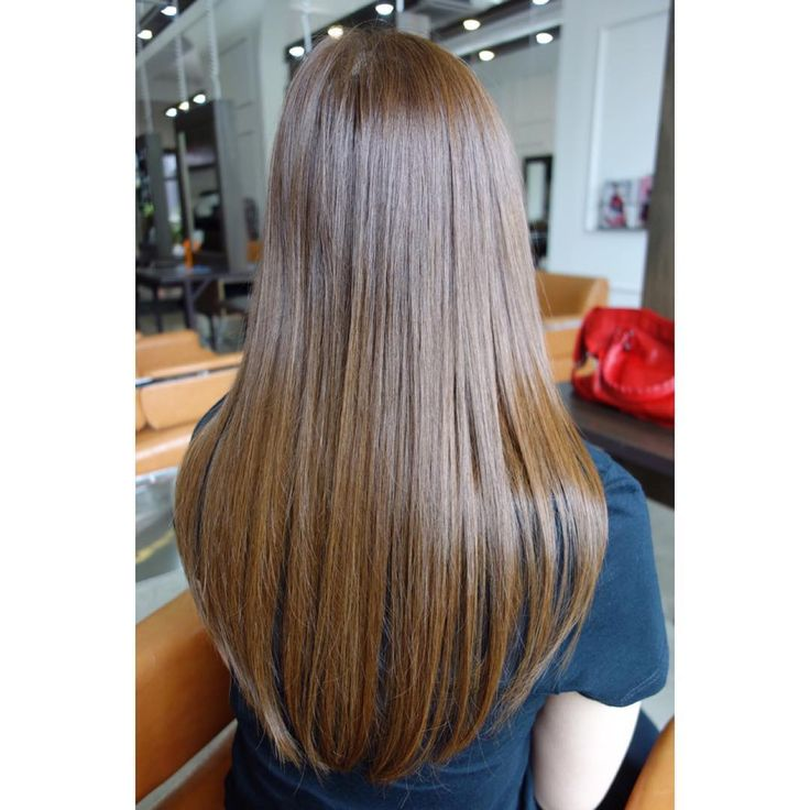 A healthy, glossy cocoa brown hair color.