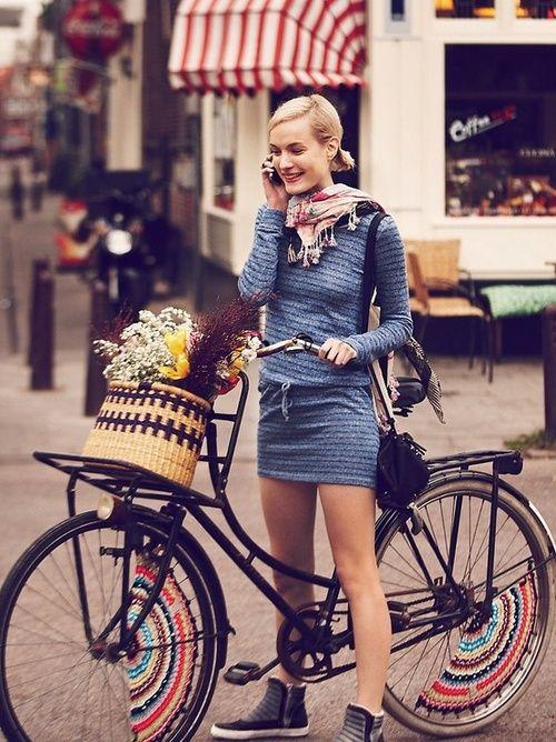 Blue dress with bike