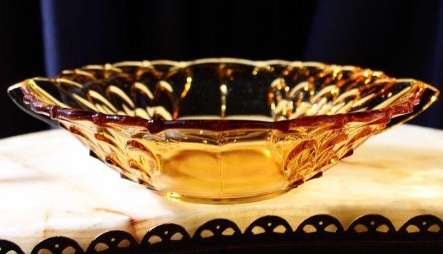 FABULOUS Stolzle Depression Glass Winged Oval Shaped Bowl Artichoke Pattern