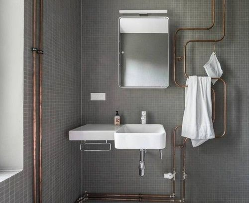 found by hedviggen ⚓️ on pinterest | bathroom | interior design | interior styling | walls | floor | modern | white | minimal  |industrial | items | details | ware | utensils | cement | concrete | tiles uncovered pipes