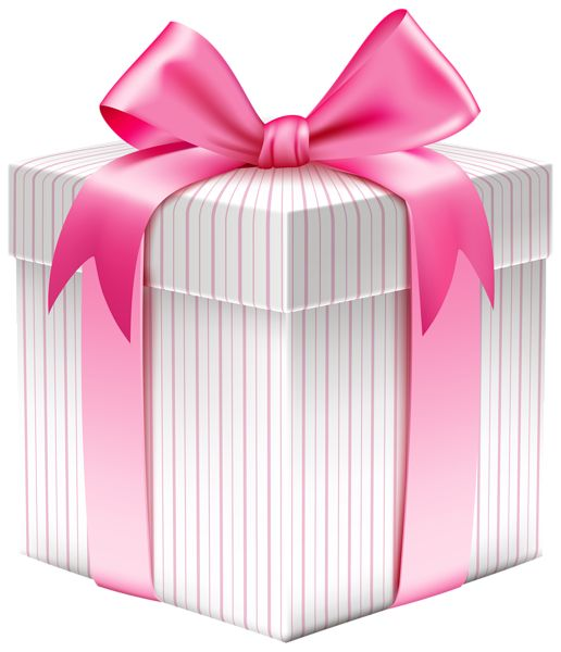 White Striped Gift Box PNG Clipart Picture