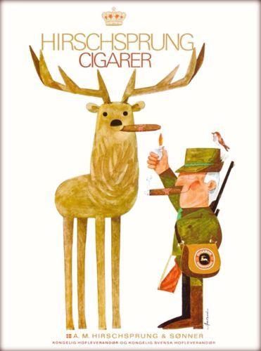 Cigars-Cigarer-Sweden-Scandinavia-Vintage-Swedish-Travel-Advertisement-Poster
