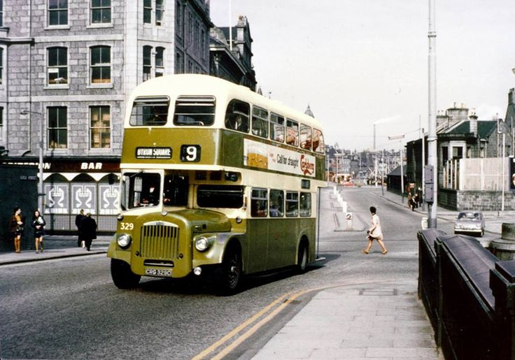 A CVG 6 Daimler bus of Aberdeen Corporation Transport makes its way along a peaceful Guild Street in the late 1960s.