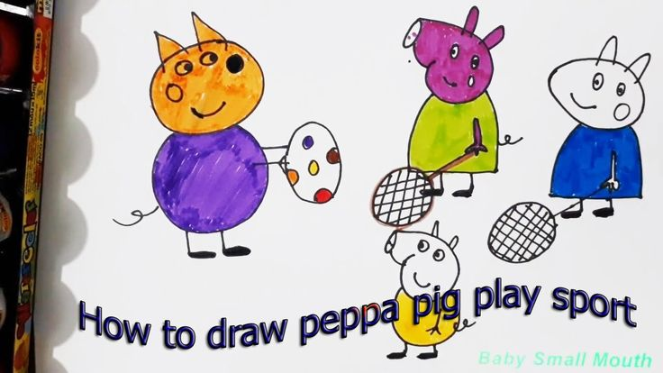 How to draw Peppa Pig | Peppa Pig Play Sport Coloring Page | Coloring Sk...