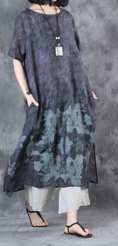 2017 baggy dark gray  linen dresses plus size casual sundress short sleeve maxi dress