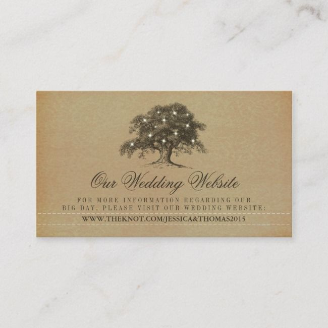 Create Your Own Enclosure Card Zazzle Com Oak Tree Wedding Wedding Website Wedding Website Card